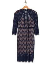GUESS Geometric Cutout 3/4 Sleeve Lace Sheath Dress, Size 2 in Navy/nude at Nordstrom Rack