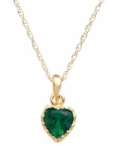"""""""Tiara 14k Gold Over Silver Lab-Created Emerald Heart Crown Pendant, Women's, Size: 18"""", Green"""""""