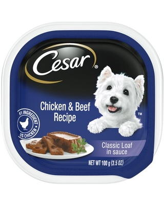 (24 Pack) CESAR Soft Wet Dog Food Classic Loaf in Sauce Chicken & Beef Recipe, 3.5 oz. Easy Peel Trays