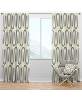 Shopping Special For Designart Retro Curved Minimal Geometric Ornament I Mid Century Modern Curtain Panel 50 In Wide X 84 In High 1 Panel