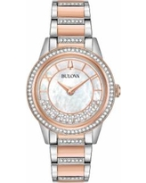 Bulova Women's TurnStyle Crystal Two Tone Stainless Steel Watch - 98L246, Size: Medium, Pink