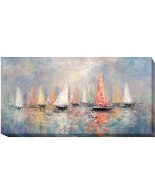 """Artistic Home Gallery 'Colored Sails' Oil Painting Print on Wrapped Canvas 709EG Size: 24"""" H x 48"""" W x 1.5"""" D"""