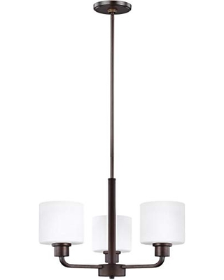 Sea Gull Lighting Generation 3128803EN3-710 Contemporary Modern Three Light Chandelier from Seagull-Canfield Collection in Bronze/Dark Finish, Burnt Sienna