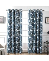 """Porch & Den Eyres Floral and Bird Thermal Lined Blackout Curtain Panel Pair - 52 x 84 (52"""" W X 84"""" L)"""