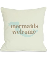 """One Bella Casa Mermaids Welcome Throw Pillow 70699PL Size: 26"""" H x 26"""" W"""