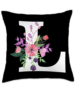 white letter L cute pink flowers floral monogram pretty roses floral monogram white letter L cute pink flower Throw Pillow, 18x18, Multicolor