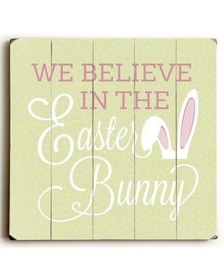 """'Believe In Easter Bunny Dots' Textual Art on Wood August Grove Size: 18"""" H x 18"""" W"""