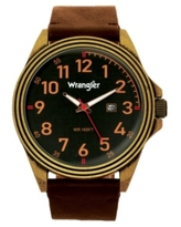 Wrangler Men's, 48MM Antique Brass Case, Black Dial, Bronze Arabic Numerals, Black Strap, Analog Watch with Red Second Hand, Date Function