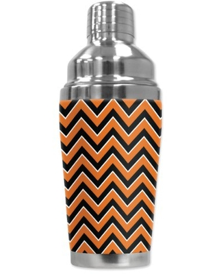 """Mugzie """"Texas Chevron"""" Cocktail Shaker with Insulated Wetsuit Cover, 16 oz, Black"""