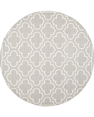 Safavieh Dhurries Gray/Ivory 7 ft. x 7 ft. Round Area Rug
