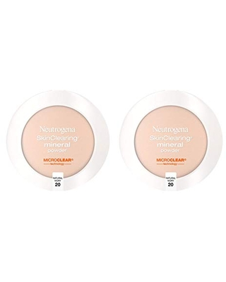 Neutrogena SkinClearing Mineral Acne-Concealing Pressed Powder Compact, Shine-Free & Oil-Absorbing Makeup with Salicylic Acid to Cover, Treat & Prevent Breakouts, Natural Ivory 20.38 oz (Pack of 2)