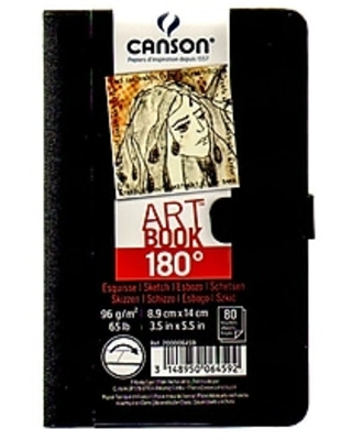 """Canson 180 Degree Hardbound Sketch Books 3 1/2"""" x 5 1/2"""" 80 sheets Pack of 2 (60482-PK2)"""