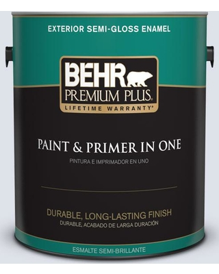 BEHR PREMIUM PLUS 1 gal. #640E-2 Lilac Champagne Semi-Gloss Enamel Exterior Paint and Primer in One