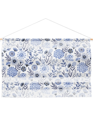 "47""x32"" 3pc Pimlada Phuapradit Blue And White Floral Wall Hanging Landscape Tapestries Blue - Deny Designs"