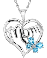 'Mom' Heart Pendant with Diamond in Sterling Silver (Purple)