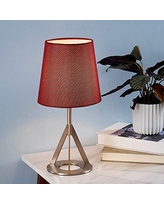 Versanora VN-L00066R Aria Table Lamp, Red/Nickle Brass Finish