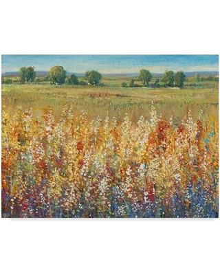 """East Urban Home 'Gold and Red Field I' Acrylic Painting Print on Wrapped Canvas W000031870 Size: 24"""" H x 32"""" W x 2"""" D"""
