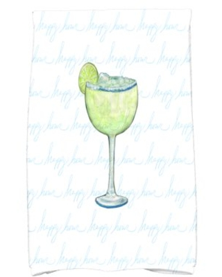 Simply Daisy, 16 x 25 inch, Margarita Text Fade Happy Hour, Geometric Print Kitchen Towel, Pale Blue