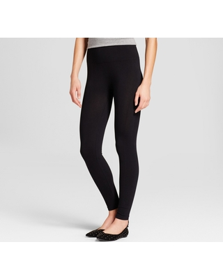b76f39ae91be35 Women's Cotton Blend Seamless Waistband Leggings - A New Day Black L/XL
