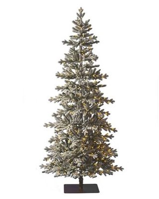 7.5' Green/White Pine Artificial Christmas Tree with 400 Clear Lights