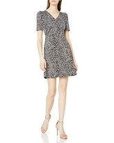 Amazon Brand - Lark & Ro Women's Florence Gathered Detail Half Sleeve V-Neck Dress, Black/Ivory Polka Dot, 14