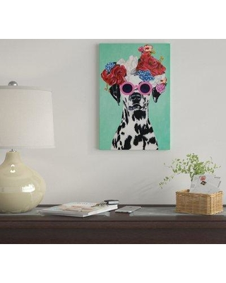 "East Urban Home 'Fashion Dalmatian Turquoise' By Coco de Paris Graphic Art Print on Wrapped Canvas EUME3105 Size: 40"" H x 26"" W x 1.5"" D"
