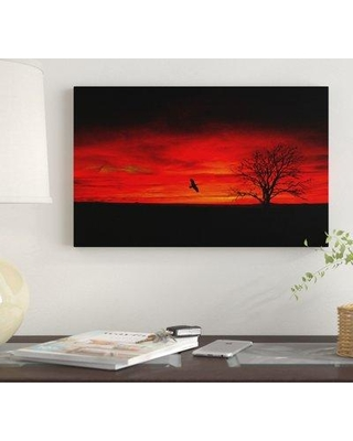 """Winston Porter 'Lone Tree and a Bird' Graphic Art Print on Wrapped Canvas WNST7177 Size: 30"""" H x 47"""" W"""
