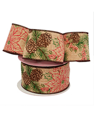 Poinsettia & Pinecone Linen Ribbon - 2-1/2 X 10 Yards - Polyester - Embellishments & Trims by Paper Mart