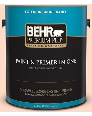 BEHR PREMIUM PLUS 1 gal. #230A-2 Beach Trail Satin Enamel Exterior Paint and Primer in One