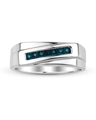 Mens Color-Enhanced Blue Diamond Accent Sterling Silver Ring, 11