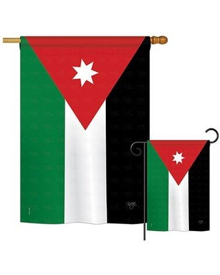 Breeze Decor 2 Piece Jordan of the World Nationality Impressions Decorative Vertical 2-Sided Polyester Flag Set BD-CY-S-108245-IP-BO-D-US15-BD