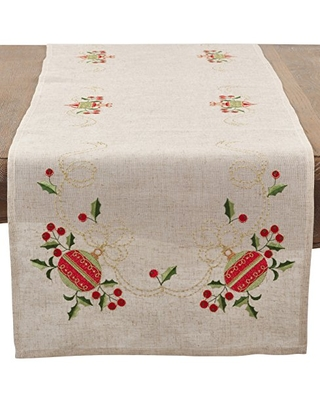 """SARO LIFESTYLE Natural Color Embroidered Ornament Table Runner-16 x72 Oblong, 16"""" x 72"""""""