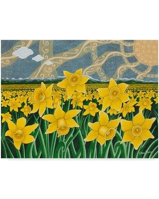 """Trademark Art 'Daffodil Field' Acrylic Painting Print on Wrapped Canvas ALI29715-CGG Size: 35"""" H x 47"""" W x 2"""" D"""