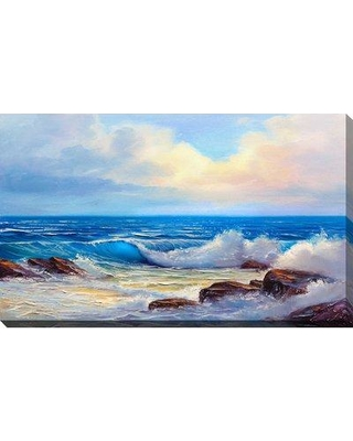 Shop Highland Dunes Painted Blue Waves Ii Acrylic Painting Print On Wrapped Canvas Canvas And Fabric In Brown Blue White Size 24 H X 40 W X 1 5 D