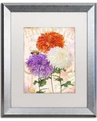 "Trademark Art 'Chrysanthemums' by Color Bakery Framed Graphic Art ALI4031-S1 Mat Color: White Size: 20"" H x 16"" W x 0.5"" D"