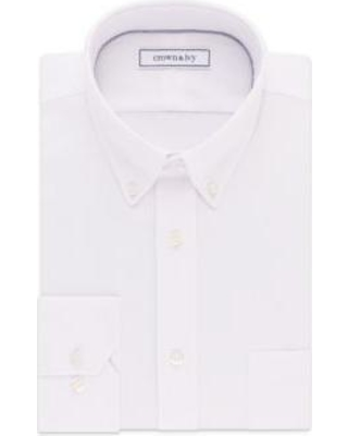 Crown & Ivy™ White Long Sleeve Slim Fit Stretch Pinpoint Solid Dress Shirt