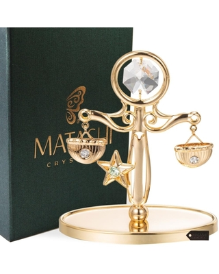 Matashi Home Decorative Tabletop Showpiece 24K Gold Plated Crystal Studded Scale Ornament