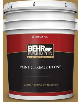 BEHR Premium Plus 5 gal. #340F-7 Woven Basket Flat Exterior Paint and Primer in One