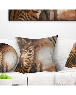 "African Zebra Pillow East Urban Home Size: 16"" x 16"", Product Type: Throw Pillow"