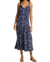 Nordstrom Signature Printed Sleeveless Stretch Silk Maxi Dress, Size 0 in Navy Evening Floral at Nordstrom