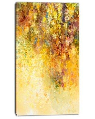 """Design Art 'White Flowers and Soft Color Leaves' Painting Print on Wrapped Canvas PT14083- Size: 32"""" H x 16"""" W x 1"""" D"""