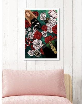 """House of Hampton 'Garden of Glam' Graphic Art Print BF185362 Size: 26"""" H x 18"""" W x 0.5"""" D Format: White Framed"""