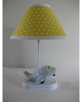 "Silly Bear Airplane Captain 16"" Table Lamp TL51-174 Shade: Delightful Dots Keylime Pie"