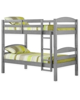 Forest Gate Solid Wood Twin-Over-Twin Bunk Bed in Grey