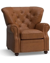 Lansing Leather Recliner, Polyester Wrapped Cushions, Signature Maple
