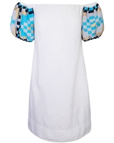 Women's Recycled White Cotton Off Shoulders Mini Linen Dress With Embroidered Puff Sleeves Large Haris Cotton