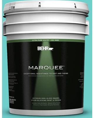 BEHR MARQUEE 5 gal. #P450-4 Hidden Sea Glass Semi-Gloss Enamel Exterior Paint and Primer in One