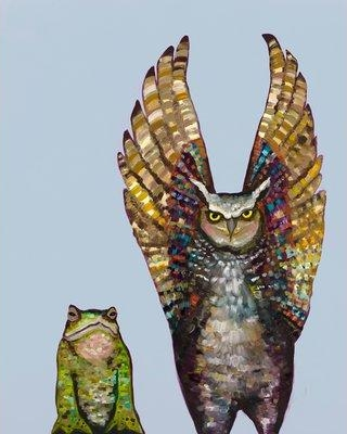 """GreenBox Art 'Owl & Toad' by Eli Halpin Print of Painting on Canvas in Light Blue NB540 Size: 14"""" H x 10"""" W x 1.5"""" D"""