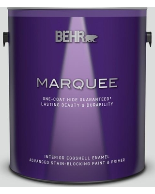 BEHR MARQUEE 1 gal. #N530-1 Pixel White Eggshell Enamel Interior Paint and Primer in One