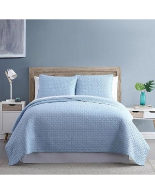 Diamond Link 3-Piece Enzyme Washed Quilt Set, Blue, King